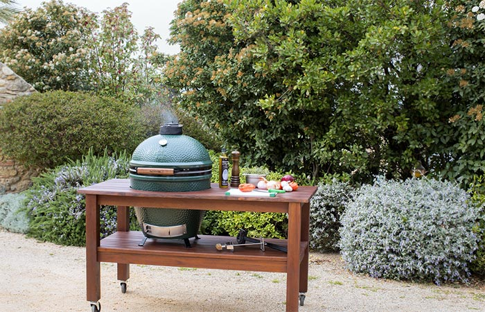 Cooking On Big Green Egg Grill Outside