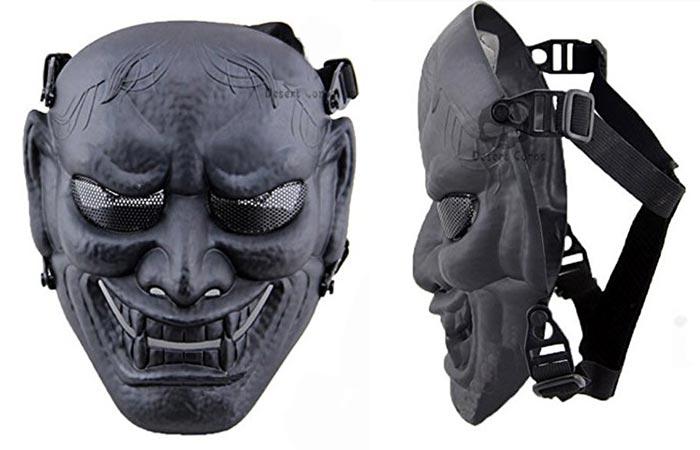 Phoenix Japanese Samurai Mask with white background