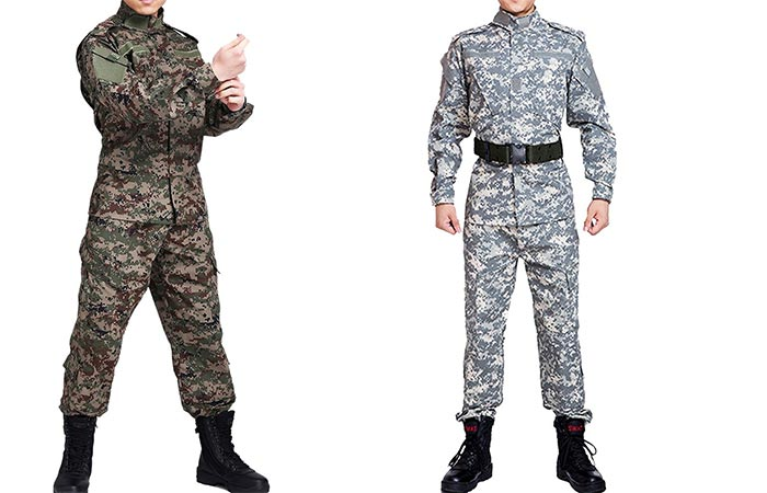YOUR Gallery tactical camo suits against white background