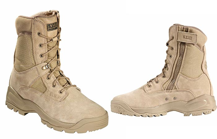 5.11 Military boots on white background