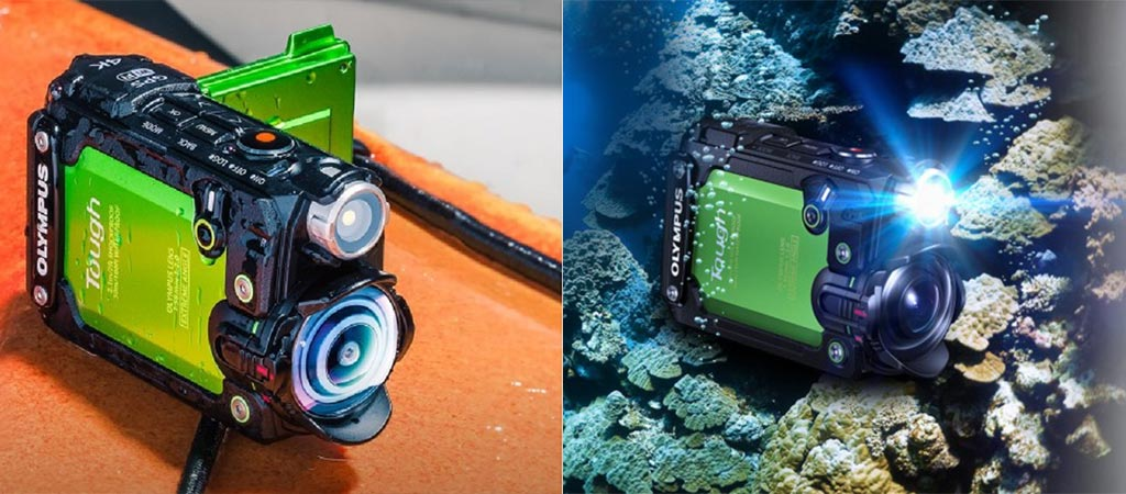 Tough TG-Tracker on wooden surface and underwater