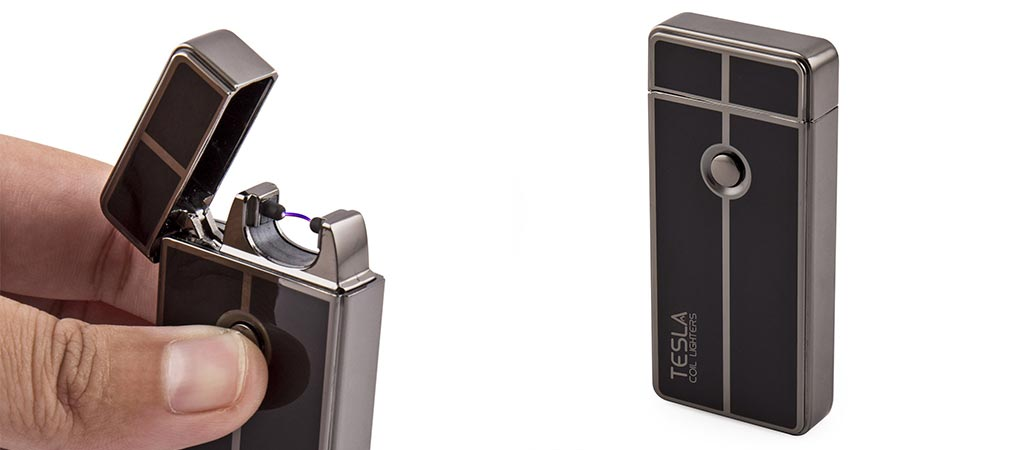 Tesla Coil Rechargeable Lighter being used by someone and by itself on white background
