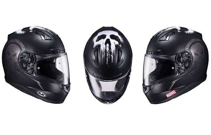 Three different views of the Punisher Helmet by HJC and Marvel
