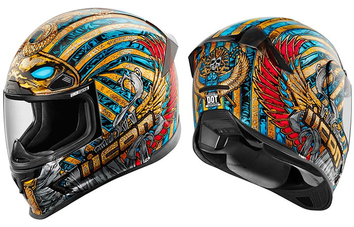 The Icon Airframe Pharaoh Helmet that was designed by Tanner Goldbeck