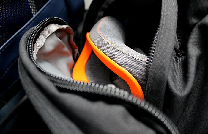 The Bullrest Travel Pillow Packed In A Backpack