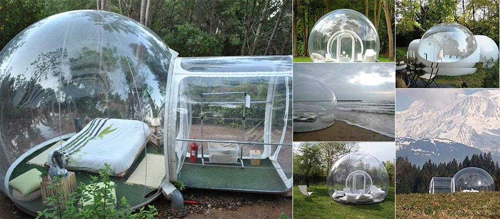 Different Bubble Tents inflated