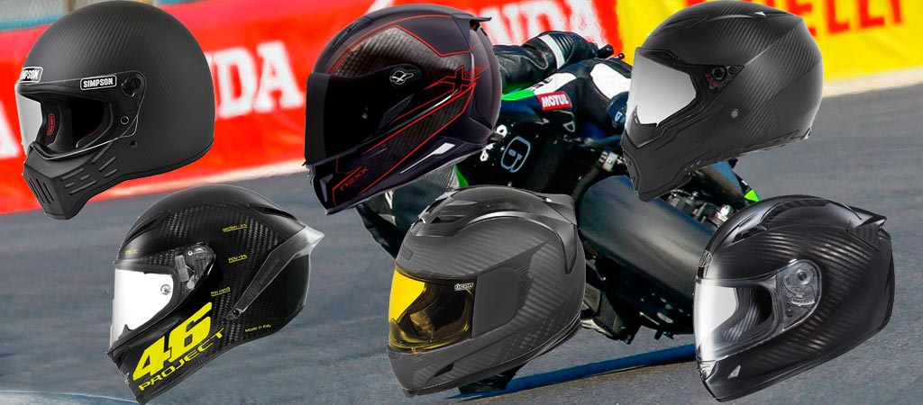 Carbon fiber helmets with racer in the background