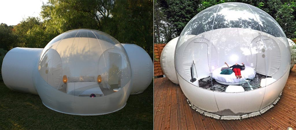 The Twin Tunnel Bubble Tent Outside