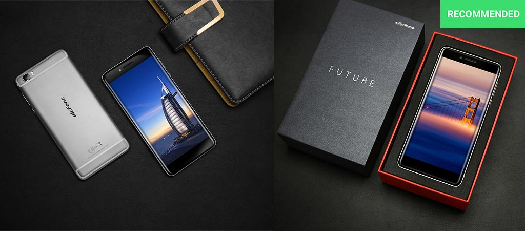 The Ulefone Future next to a notebook and in its box