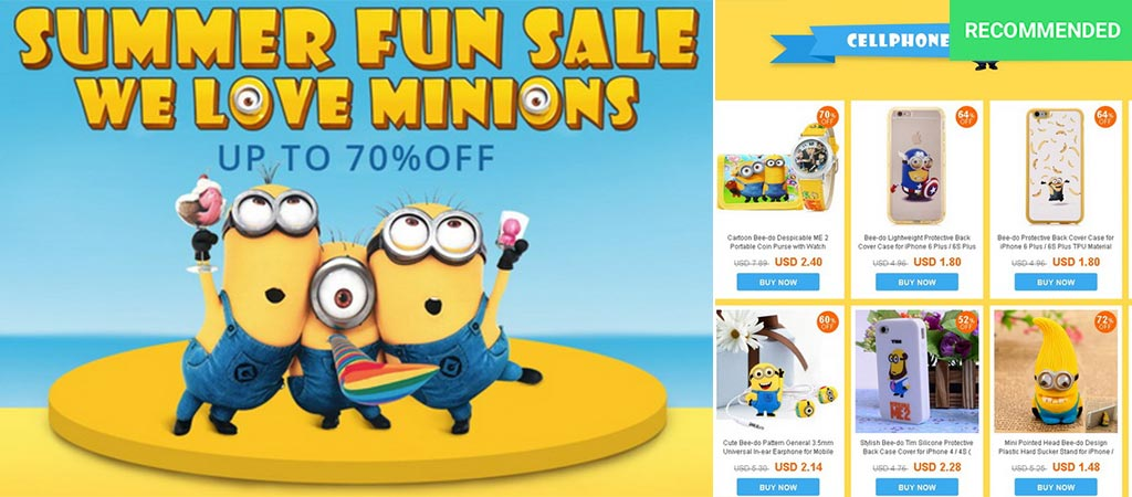 2016 Summer Special Minion sale from Everbuying