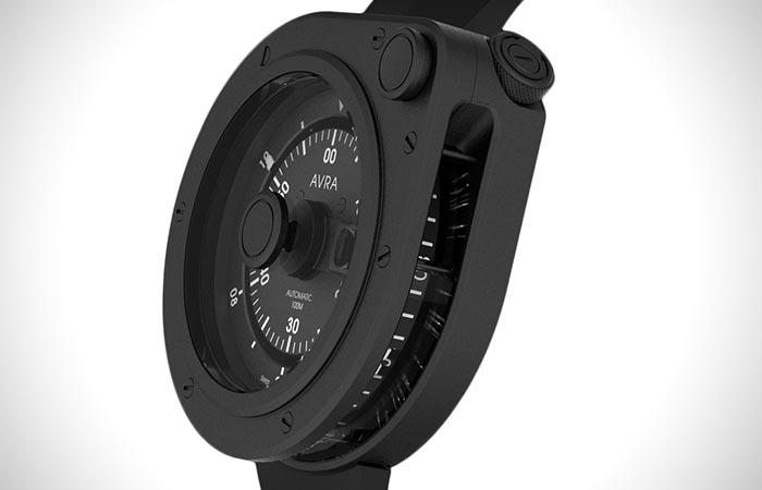 Side view of AVRA 1-Hundred stainless steel black