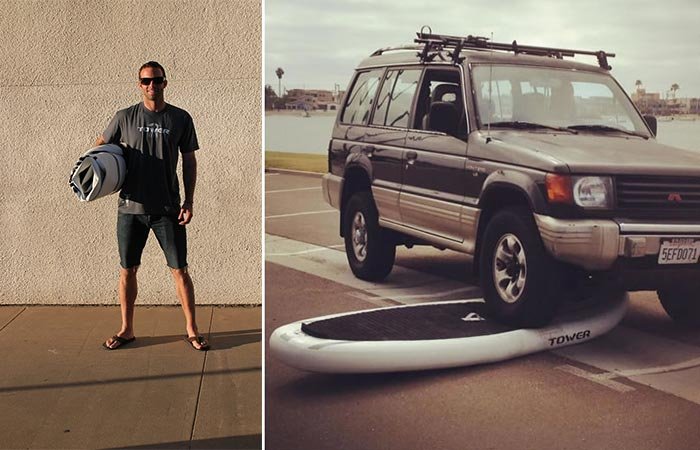 Adventurer Inflatable SUP Rolled Up And Carryed By A Guy And A Car Going Over It