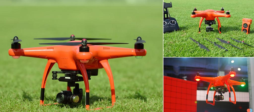 3 Different shots of the X-Star Premium Drone as well as a shot of it's spares