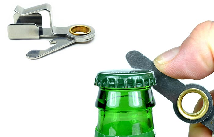 Chapstick Holder bottle opener being used