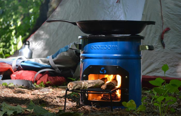 EcoZoom Dura Rocket Stove being used while camping