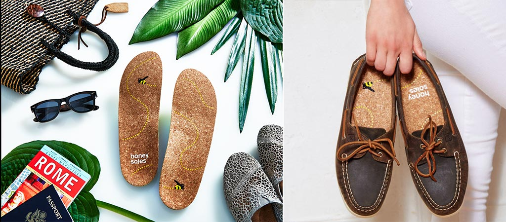 Honey Soles among other things and inside shoes that's being held by someone