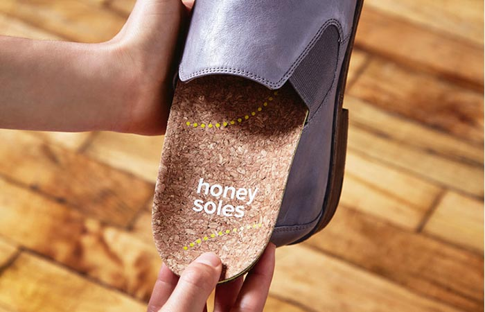 Honey Soles being inserted into shoes