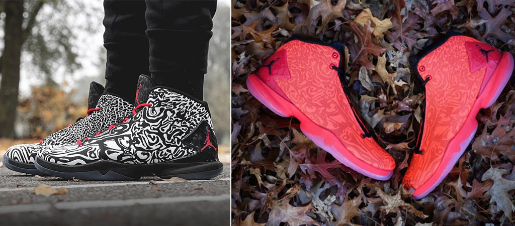 Jordan Super.Fly 4 Jacquard Shoes in black and white on feet as well as red on leaves
