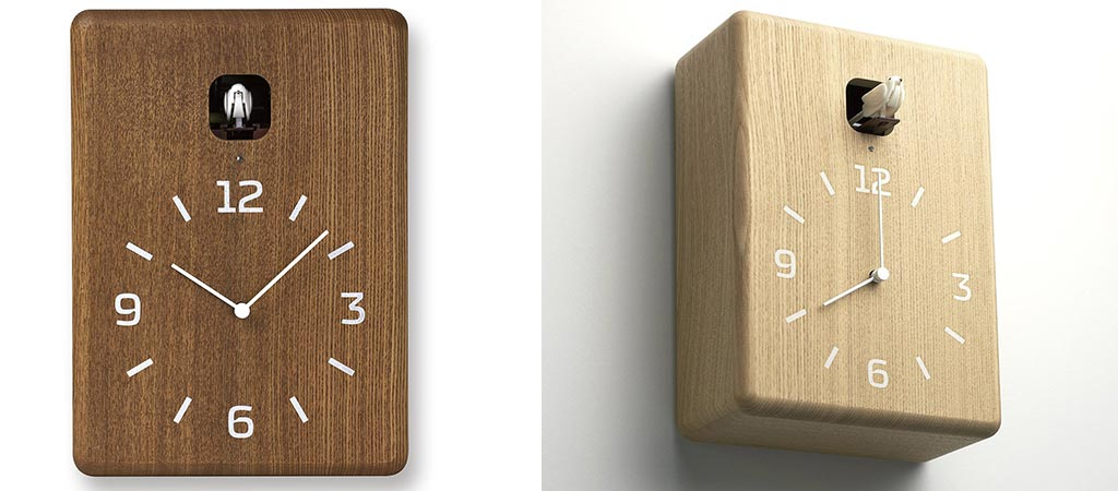 Brown and Natural colors of the Lemnos Cucu Clock with white backgrounds