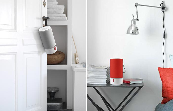 Libratone ZIPP hanging on a door and standing on a side table
