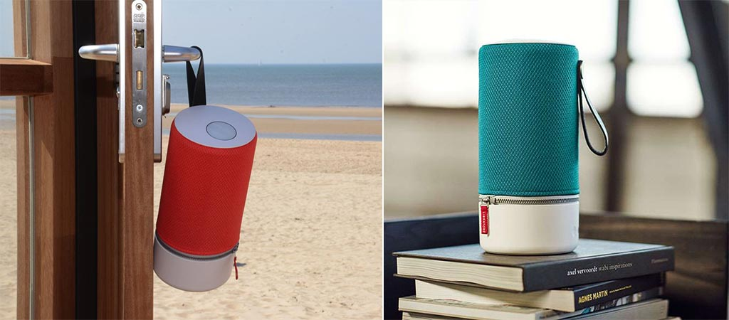 Libratone ZIPP being used at the beach and standing on books