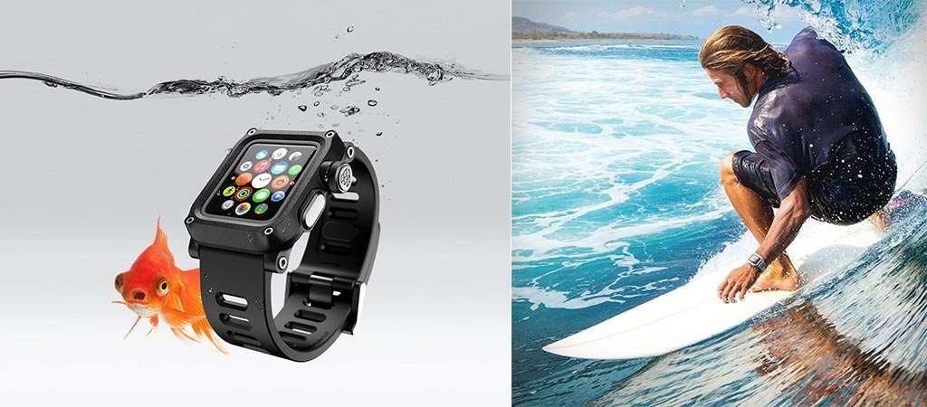 Lunatik Epik H20 being used by a surfer and the black versiona by itself