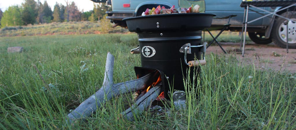M-5000 Envirofit Rocket Stove being used outside