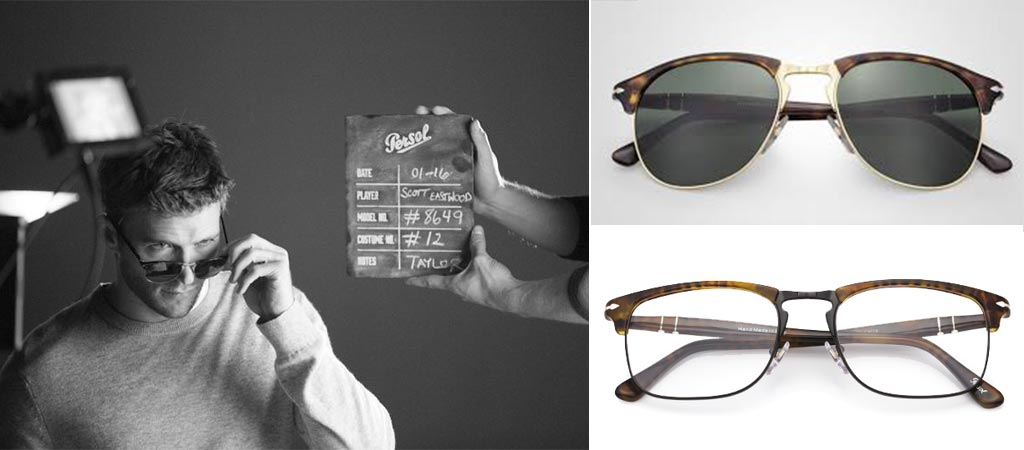 Scott Eastwood behind the scenes with new generation persol glasses and the PO8649S and PO8359V