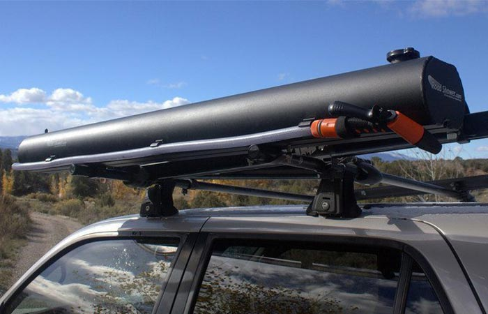 Road Shower Mounted At The Roof Rack