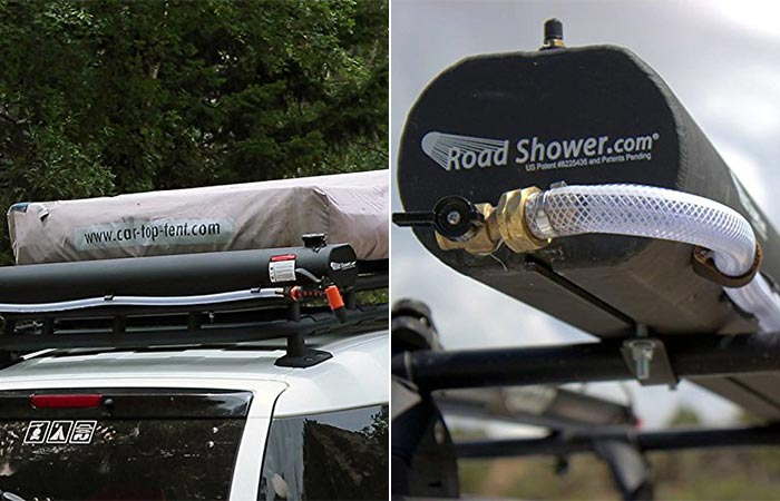 Two Images Of Portable Solar Road Shower