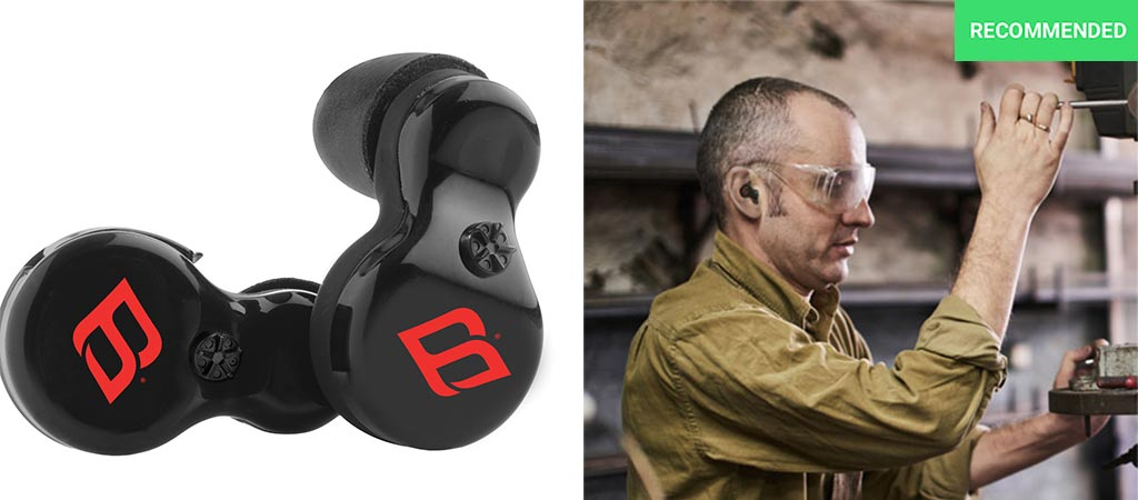 H2P black earbuds and a man wearing it while using a drill