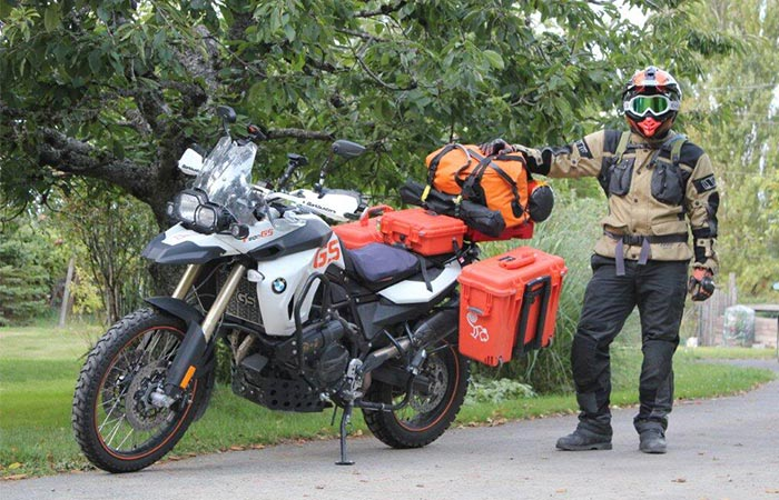 Orange SealLine Wide Mouth Duffle On A Motorcycle