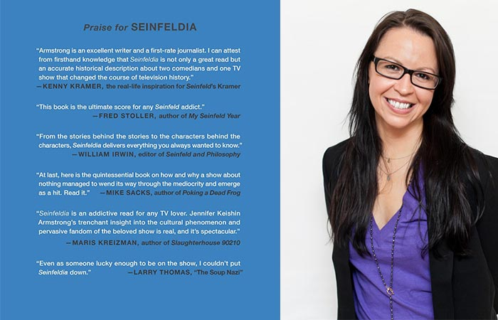 Back Cover of Seinfeldia and a picture of Author Jennifer Keishin Armstrong