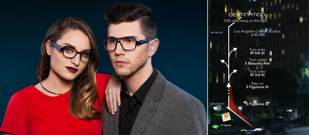Man and woman wearing Shima Glasses and a shot of the driving mode