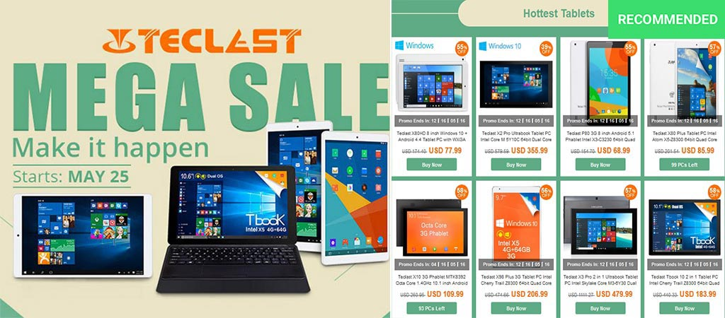 Teclast Mega Sale With some of the deals