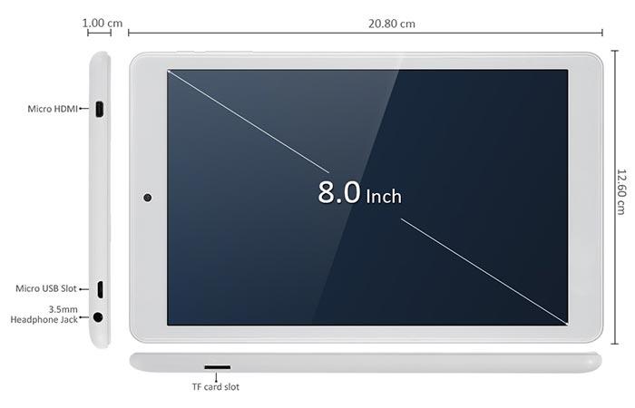 Dimensions of the Teclast X80 Pro
