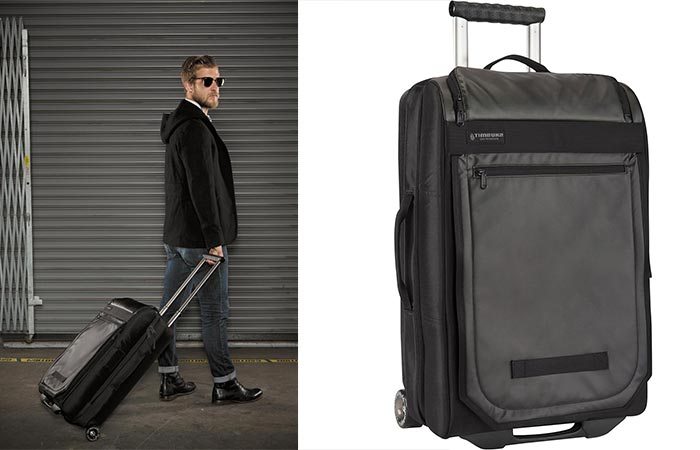 Man dragging Timbuk2 Copilot behind him as well as a shot with a white background