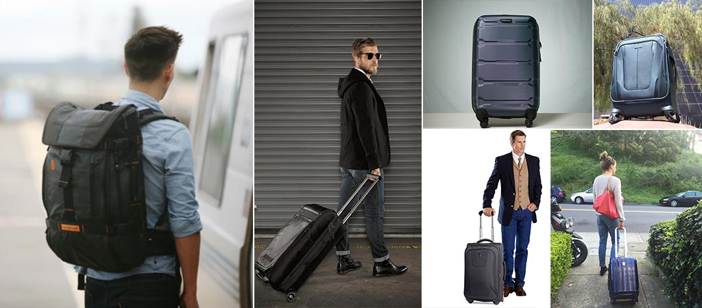 Different pictures that contain the TravelPro Maxlite 3, Samsonite Omni PC Hardside, Samsonite Silhouette Sphere 2, Delsey Helium Aero, Timbuk2 Aviator, Timbuk2 Copilot