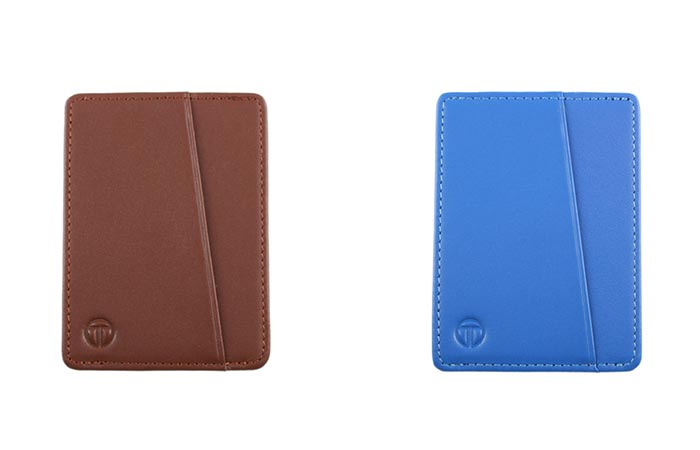 Brown and Blue versions of the Tyni Wallet