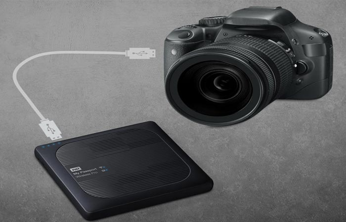 WD My Passport linking to a camera