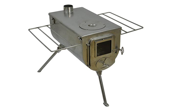 Side view of the Winnerwell Woodlander Deluxe Wood Tent Stove without the Flue