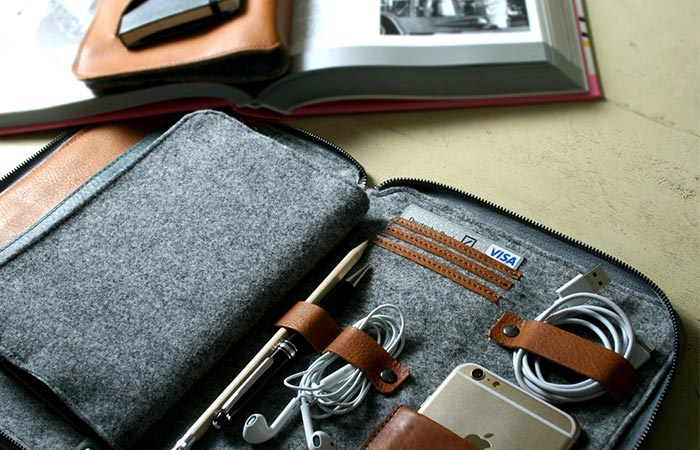 Dark Brown Byron With An Insert Inside And Items Stored In It