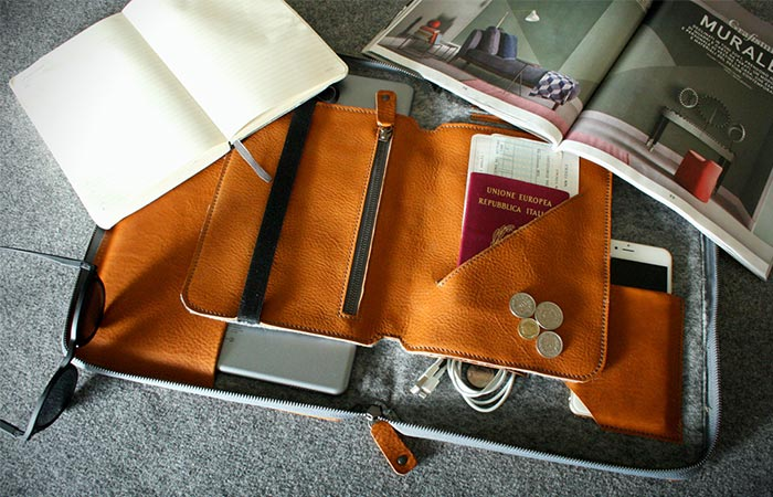 Light Brown Byron With A Travel Insert Inside