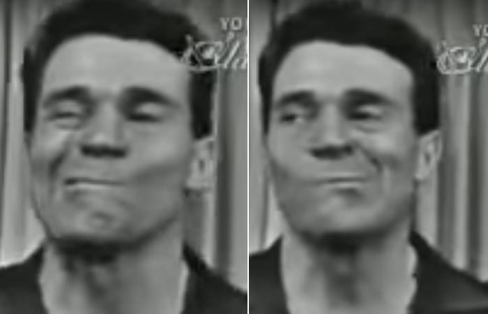 Jack Lalanne doing side to side jaw exercise