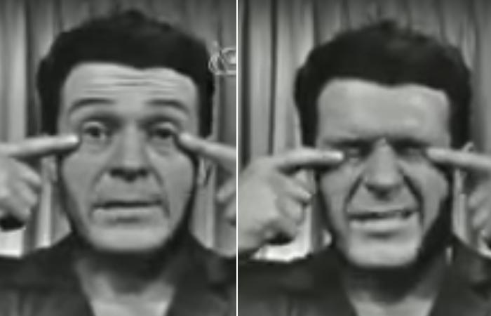 Jack Lalanne doing eye squeeze exercise