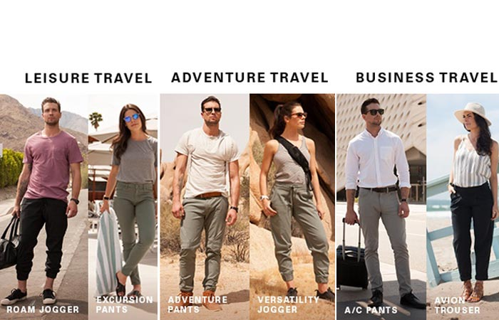 The different male and female models of the Live Lite pants.