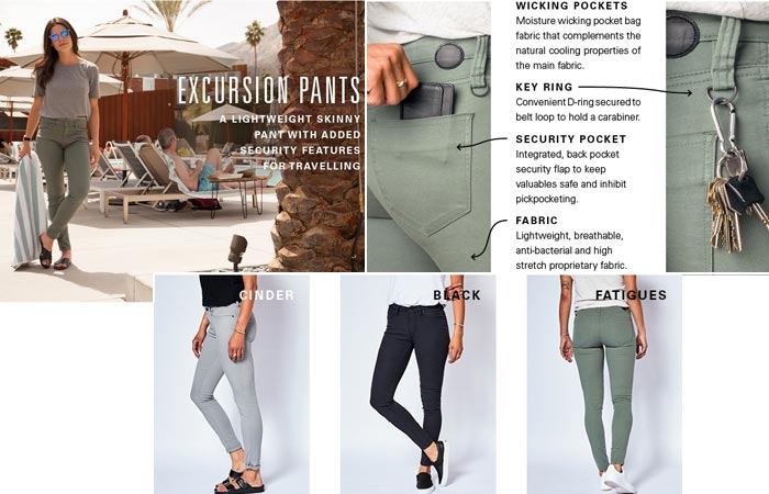 Excursion pants and features