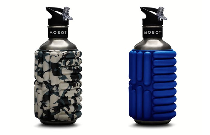 Camo And Blue Mobot Water Bottle & Roller