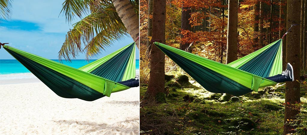 The Rusee Double Hammock being used in two different locations