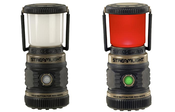White And Red LED Lights On Streamlight Siege AA Lantern